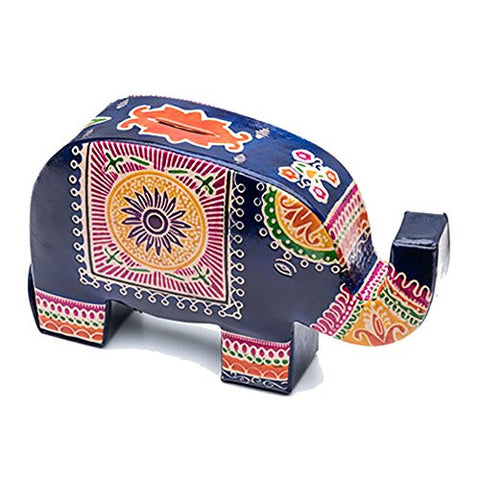 """Elephant"" Fair Trade Handmade Leather Coin Bank"
