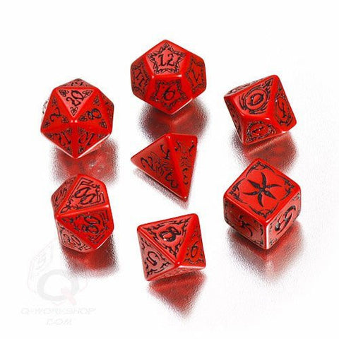 (Ship from USA) Q-Workshop: Tribal Dice Set Red/Black /ITEM#H3NG UE-EW23D118367