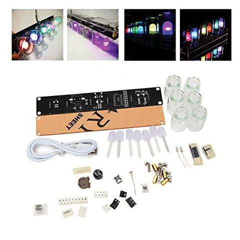 6 LEDs Novelty Signal Light Clock DIY Kit IQ & EQ Development Education Learning Kit Engineer Starter toy Hobby Electronic Kit W/USB Cable ERG-8