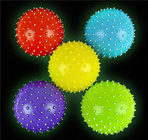 "(LOT OF 5) 5"" Glow in the dark Inflatable Knobby Balls"