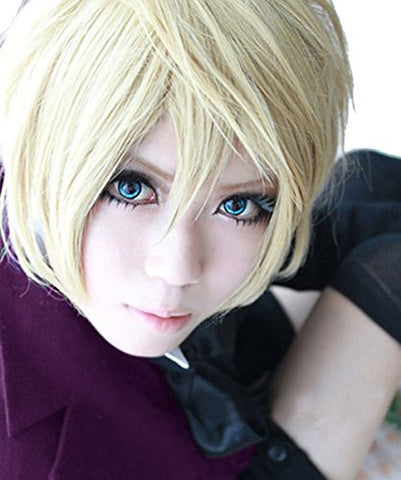 30cm Kuroshitsuji Black Butler Alois Trancy Boys Men's Blonde Short Straight Anime Cosplay Costume Full Wig Hair + Tattoo