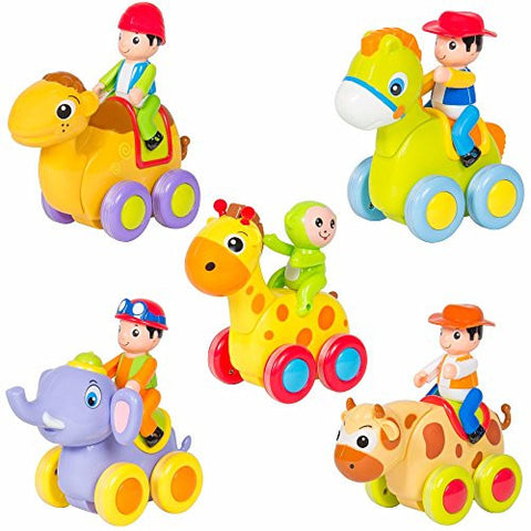 (Set of 5) Push and Go Friction Powered Animal Cars Fun Toys Stocking Stuffer