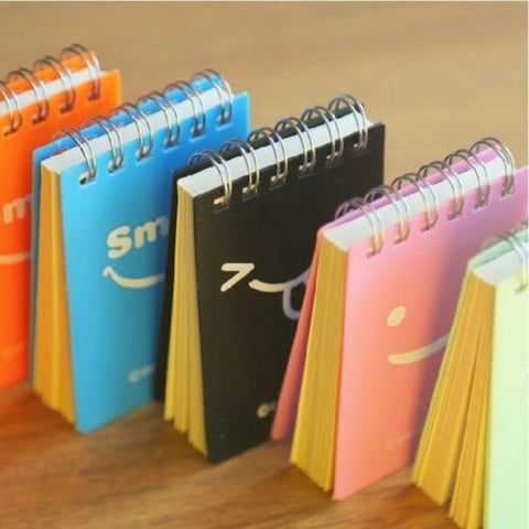 """Just Smile"" 1 pc Mini Pocket Coil Diary Study Lined Notebook Plcket Planner"