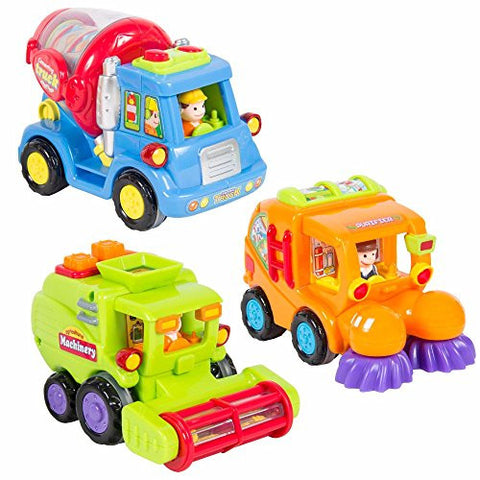 (Set of 3) Push and Go Friction Powered Car Toy Trucks Pretend Play Great Gift