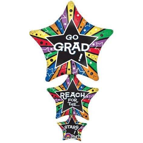 """Go Grad Reach for the Stars"" Stacked 42"" Balloon Mylar"