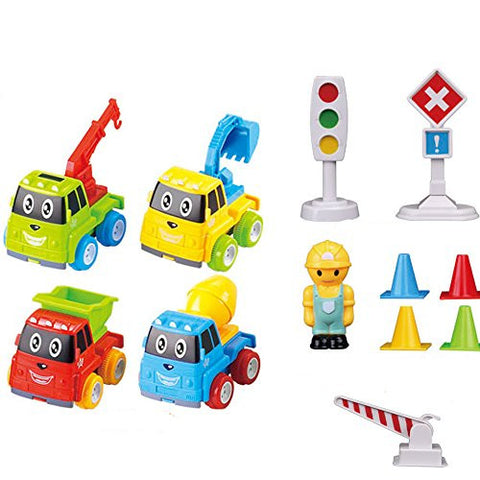 12 PC Friction Powered Car and Traffic Signs Vehicle Toy Set for Toddlers Babies