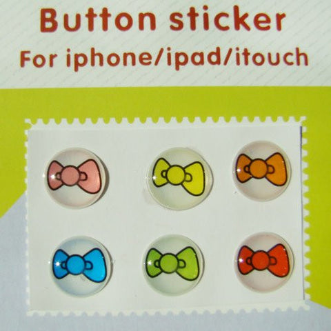 """Home"" Button Sticker for iphone/ipad/itouch, Bow, 6 Stickers"