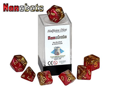 """Nanobots"" Halfsies Dice - 7 die polyhedral rpg gaming dice set - Hot Rod Red & Nitinol Gold"