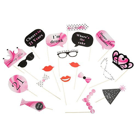 1 Set of 21pcs Stick 21th Birthday Party Glasses Photo Booth Props Lips Crown Tie