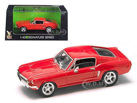 1968 FORD MUSTANG GT RED 1/43 DIECAST MODEL CAR BY ROAD SIGNATURE 43206