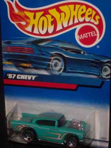 #2000-105 1957 Chevy Flame tampo Unpainted base With 57 Chevy on base Collectible Collector Car Mattel Hot Wheels 1:64 Scale