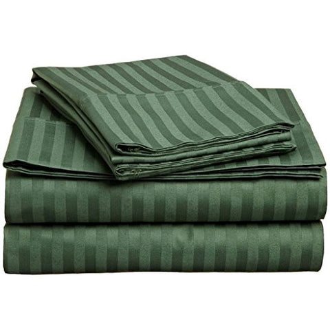 100% Premium Long-Staple Combed Cotton 300 Thread Count, Queen 4-Piece Bed Sheet Set, Deep Pocket, Single Ply, Sateen Stripe, Hunter Green