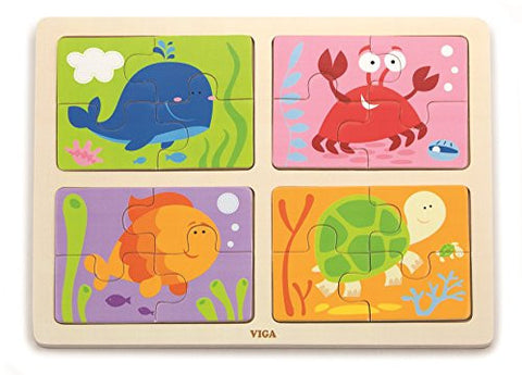 16 pcs 4 in 1 Sea Anmials Puzzle
