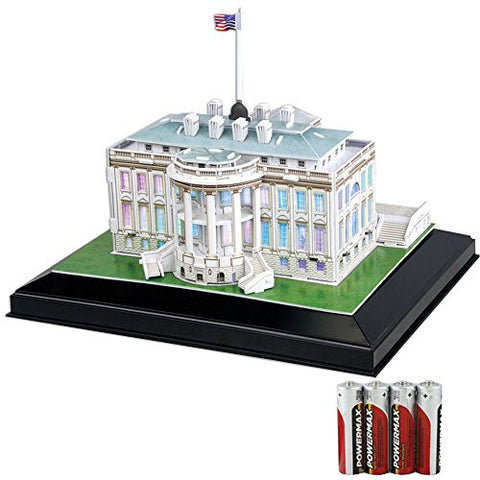 (Set) White House Cubic 3D Puzzle Model LED Lighting & 4 AA Batteries