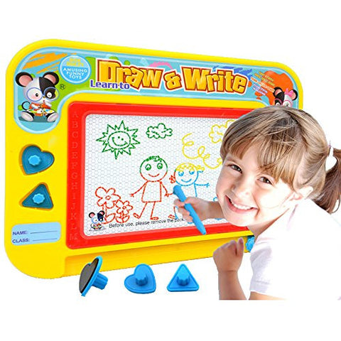 1st Electronic Port [Travel Size] Color Magnetic Drawing Board for Kids/Toddlers/Babies with 2 Stamps and 1 Pen- Retail Box- Also Named Mini Imaginarium Magic Magical Doodle
