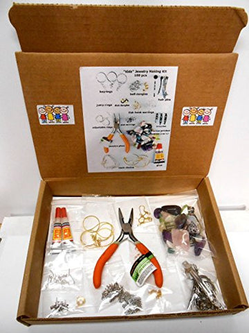 """Kidz"" Jewelry Making Craft Kit-100+ pcs Includes: Findings, genuine Semi-Precious Gemstones, Jeweler's Tool & Glue. Great addition for Rock Tumbler crafts. Just a ""Kidz"" imagination needed!"