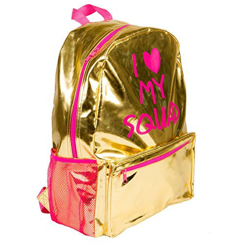 """I Heart My Squad"" Gold Metallic Backpack"