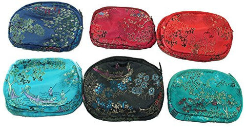 1 ASSORTED BROCADE STYLE ASIAN ZIP POUCH COIN PURSE