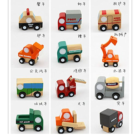 12 PCS Wooden Military Vehicle Model Educational Toys