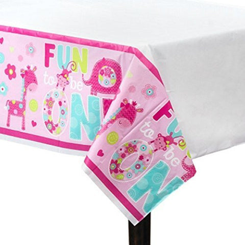 1st Birthday 'One Wild Girl' Plastic Table Cover (1ct)