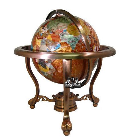 "13"" Tall Amber Pearl Swirl Ocean Table Top Gemstone World Globe with Copper Tripod Stand"