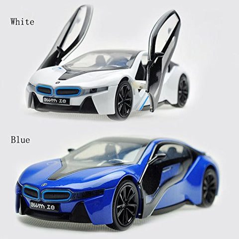 1:32 Bmw i8 White Alloy Diecast Car Model Collection With Light Sound Kids ZY