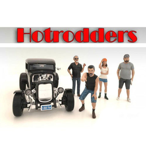"""Hotrodders"" 4 Piece Figure Set For 1:24 Scale Models by American Diorama 24027,24028,24029,24030"