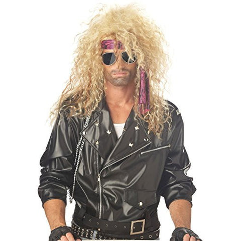 80s Rocker Wig - Choose from 2 Styles - #1 80s Rock Star Costume Wig (Black/Blonde Slash)