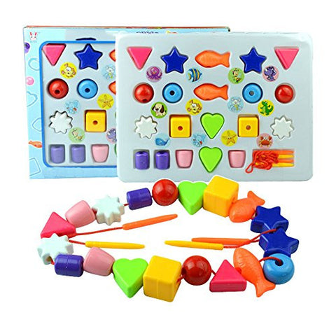 1 pc Baby Kids Educational Toy Preschool Toy Children's Intelligence Beaded Puzzle Toys Early Learning Developmental Thread Sewing Toys