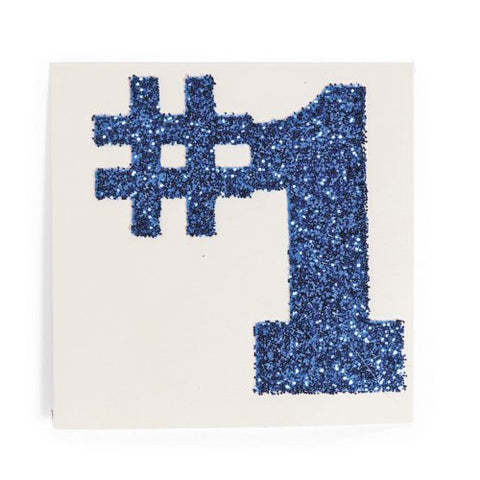 #1 Blue Glitter Tattoo Stickers (1 dz)