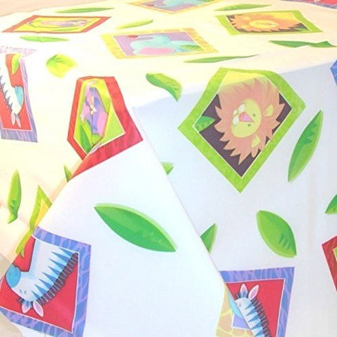 127cmx 259cm Jungle African Animals Kingdom Birthday Party Disposable Tablecover