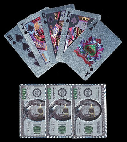 (1) New Silver tone Plastic $100 US Bill Playing Cards Boxed with Jokers.