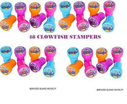 (48) Mini CLOWNFISH Stampers ~ 1.38'' Sea Life Fish Aquatic Stamps Party Favors ~ Card Decorating ~ Arts Crafts Projects ~ Classroom Gifts ~ Fairs Summer Camps ~ NEMO ~ Assorted