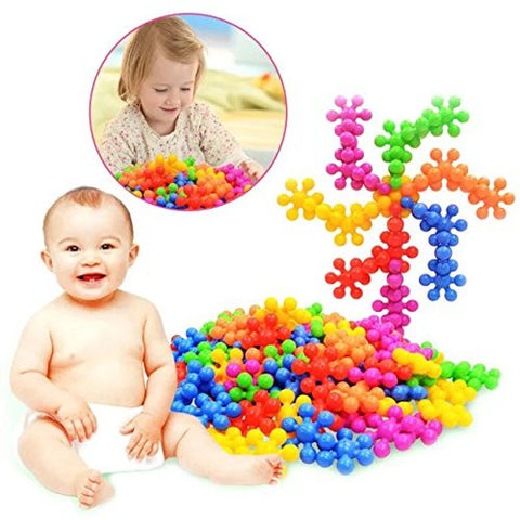 100+Pcs/Bag Plum Blossom Shaped Building Block Toy Plastic Colorful Baby Early Educational Toys Children Kids Gift Wholesale,To improve Imagination and Creativity