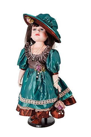 """ Abigail "" Porcelain Doll With Jewish Star of David, Wearing Green & Brown, Dress & Hat, 20"" Tall"