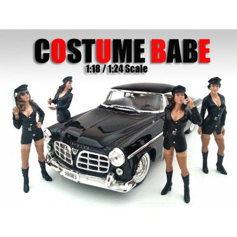 """Costume Babes"" 4 Piece Figure Set For 1:24 Scale Models by American Diorama 23917-23918-23919-23920"