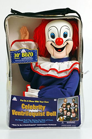 "30"" Bozo the Clown Ventriloquist Doll with Tote Bag and Instruction Booklet"