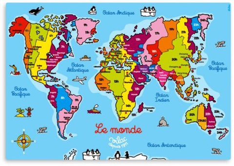 """Le Monde Magnetique"" Big Magnetic Puzzle featuring Map of the World, great educational tool in French (imported from France)."
