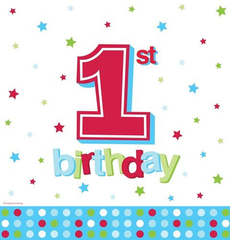 1st Blue Dots Printed Plastic Tablecover, Boys Birthday Party Supplies and Decor