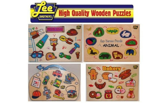 4 Puzzle Pack Includes: Bakery, Animal, Workshop and Boy Wooden Peg Puzzle Pack $80.00 Value