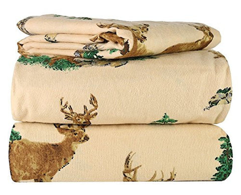100% Cotton Great Quality 3 Piece Flannel Twin Kids Sheet Set in 6 Designs (Beige Deer)
