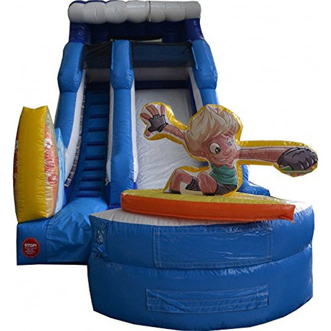 15' Surf's Up Water Slide, Wet or Dry Commercial Inflatable Slide, Includes 1.5 HP Blower and