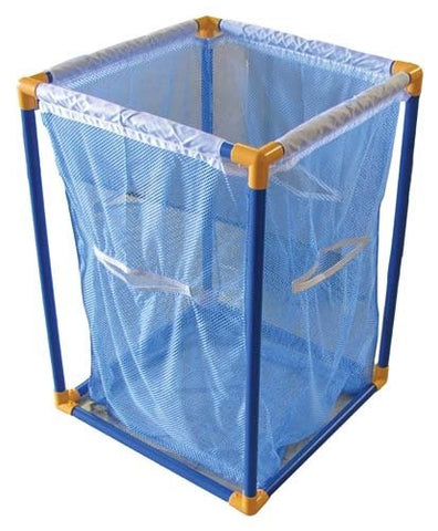 "31"" x 21"" x 21"" Plastic Tubing Mesh Yellow & Blue Large Toy Storage Bin Box"