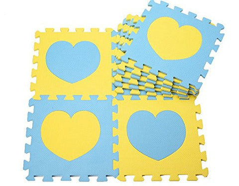 10 pcs Blue + Yellow Princess Heart Foam Play Mat Selected by MTOO Play - Indoor Kids Play Mat Floor Mats for Kids