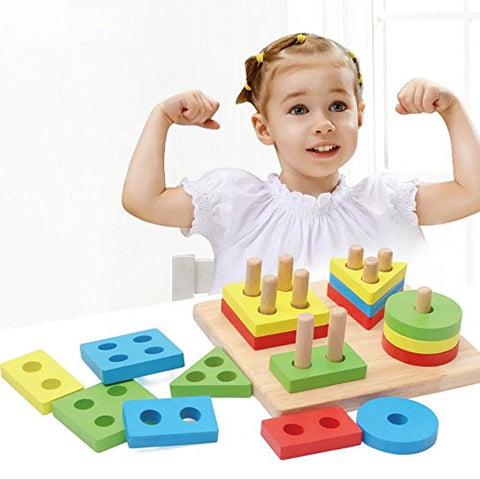 1 PC Geometric Board Baby Intelligence Toys Shape Matching Set of Column Wooden Blocks Wise Disk Set Column Building Blocks Wooden Educational Toy