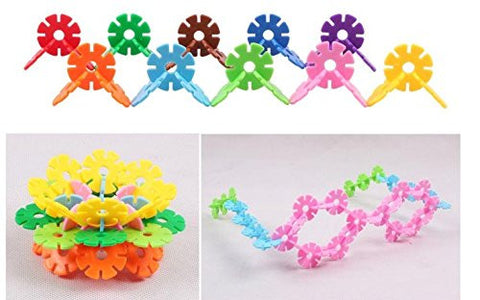 128 Pcs Multicolor Snowflake Building Kid Educational Baby Toy Puzzle