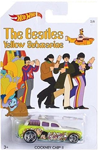 """Cockney Cab 2"" 2016 Hot Wheels THE BEATLES 50th Anniversary ""YELLOW SUBMARINE"" 1:64 Scale Collectible Die Cast Metal Toy Car Model 2/6"