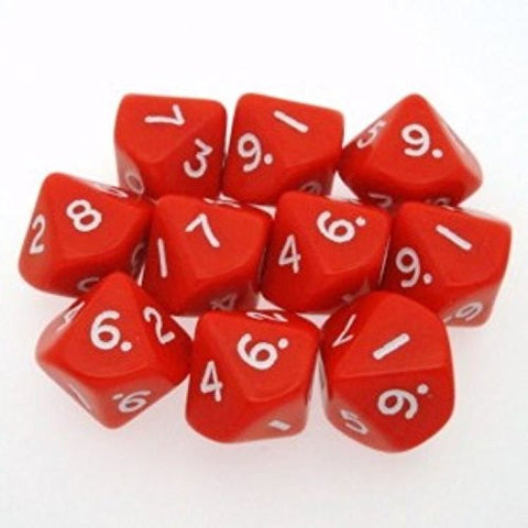 10 d10 Dice Set Chessex OPAQUE RED white 26204 Dadi OPACO ROSSO bianco chx /item# G4W8B-48Q19530