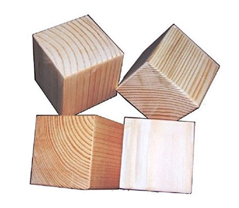 2.75-Inch Natural Unfinished Wood Blocks - Set of 10 Wooden Cubes (Each Is 2 3/4 Inches Square)