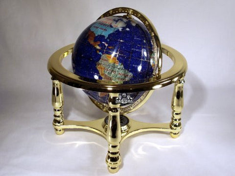 "10"" Tall Blue Crystallite Ocean Table Top Gemstone World Map Globe with 4-leg Gold Stand"